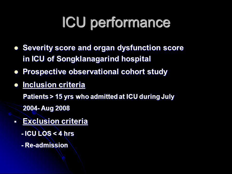ICU performance Severity score and organ dysfunction score in ICU of Songklanagarind hospital Severity score and organ dysfunction score in ICU of Songklanagarind hospital Prospective observational cohort study Prospective observational cohort study Inclusion criteria Inclusion criteria Patients > 15 yrs who admitted at ICU during July Patients > 15 yrs who admitted at ICU during July 2004- Aug 2008 2004- Aug 2008  Exclusion criteria - ICU LOS < 4 hrs - ICU LOS < 4 hrs - Re-admission - Re-admission