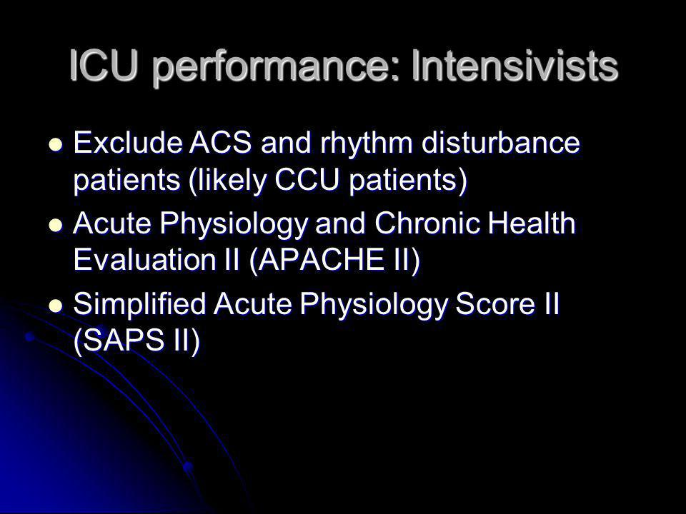 ICU performance: Intensivists Exclude ACS and rhythm disturbance patients (likely CCU patients) Exclude ACS and rhythm disturbance patients (likely CCU patients) Acute Physiology and Chronic Health Evaluation II (APACHE II) Acute Physiology and Chronic Health Evaluation II (APACHE II) Simplified Acute Physiology Score II (SAPS II) Simplified Acute Physiology Score II (SAPS II)