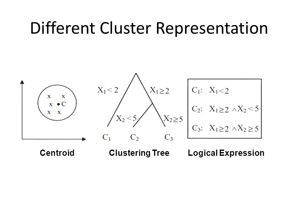 Different Cluster Representation CentroidClustering TreeLogical Expression