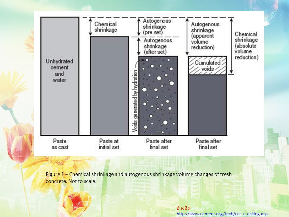 Figure 1 – Chemical shrinkage and autogenous shrinkage volume changes of fresh concrete.