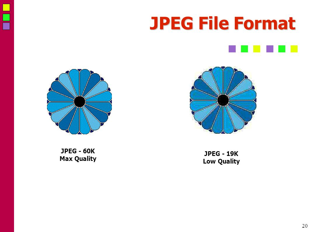 20 JPEG File Format JPEG - 19K Low Quality JPEG - 60K Max Quality