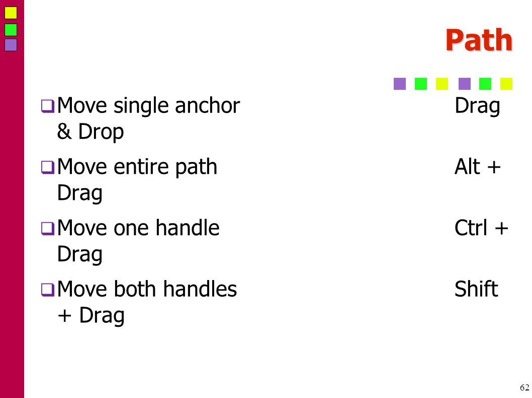62 Path  Move single anchorDrag & Drop  Move entire pathAlt + Drag  Move one handleCtrl + Drag  Move both handlesShift + Drag