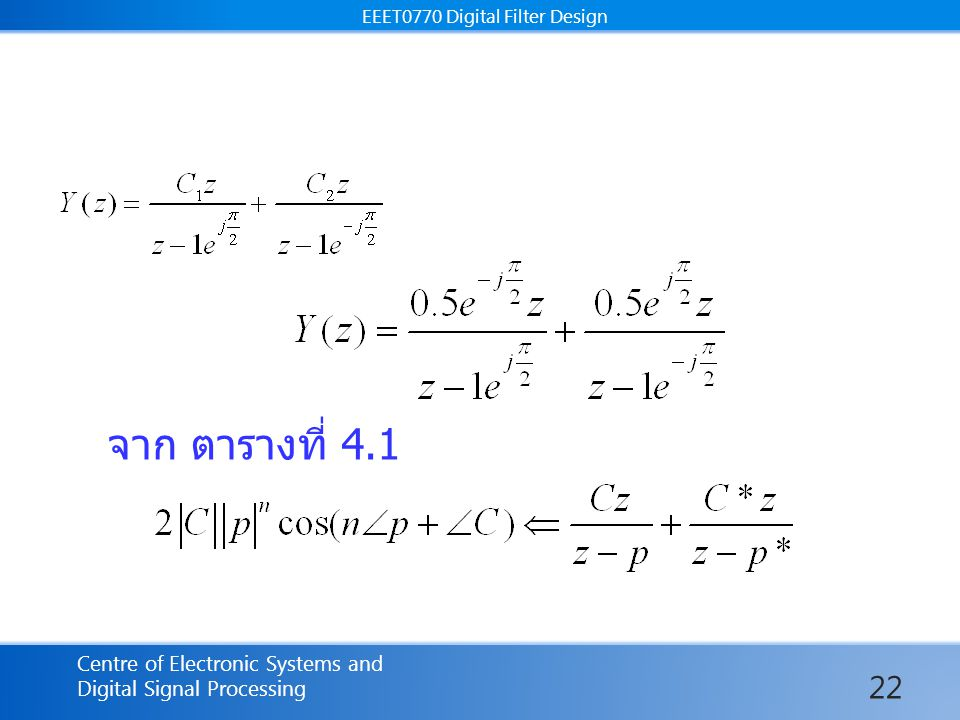 EEET0770 Digital Filter Design Centre of Electronic Systems and Digital Signal Processing EEET0770 Digital Filter Design จาก ตารางที่