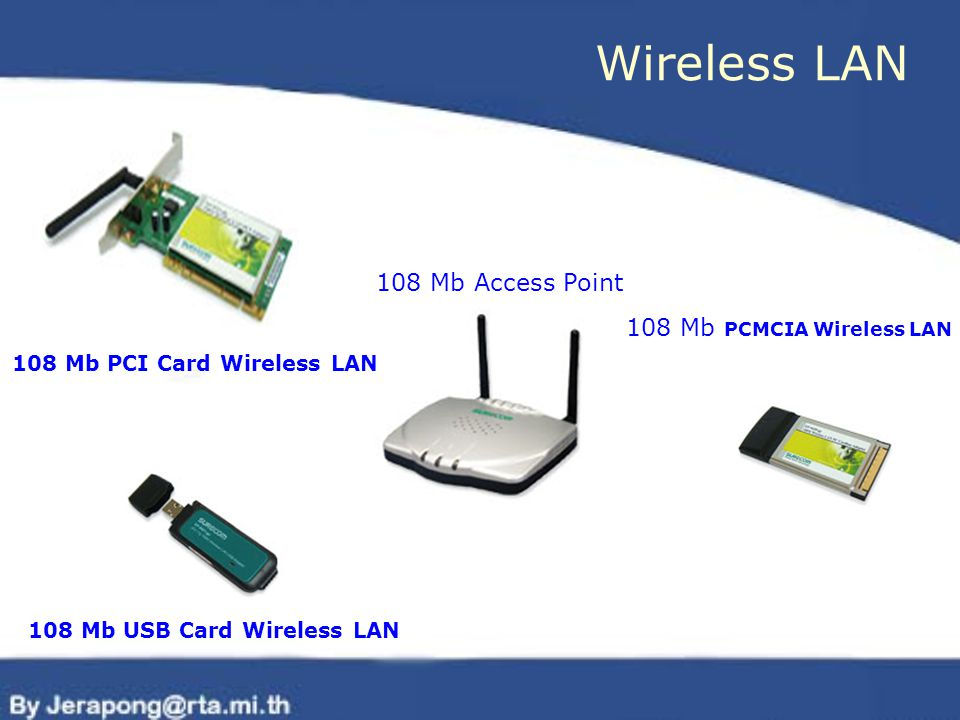 Wireless LAN 108 Mb Access Point 108 Mb PCMCIA Wireless LAN 108 Mb PCI Card Wireless LAN 108 Mb USB Card Wireless LAN