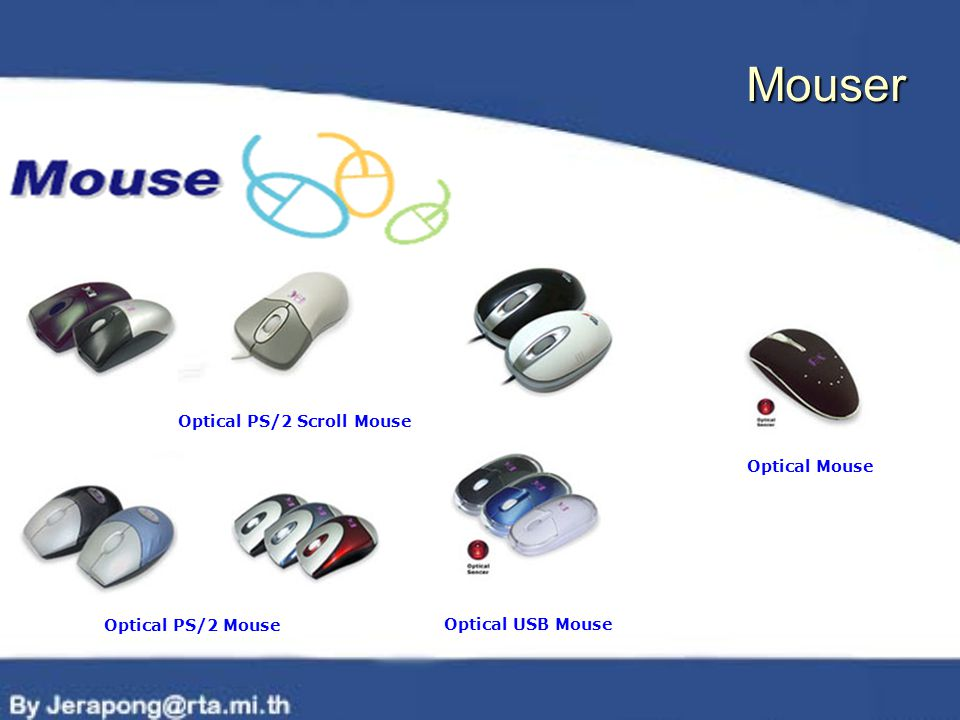 Optical Mouse Optical PS/2 Mouse Optical PS/2 Scroll Mouse Optical USB Mouse Mouser