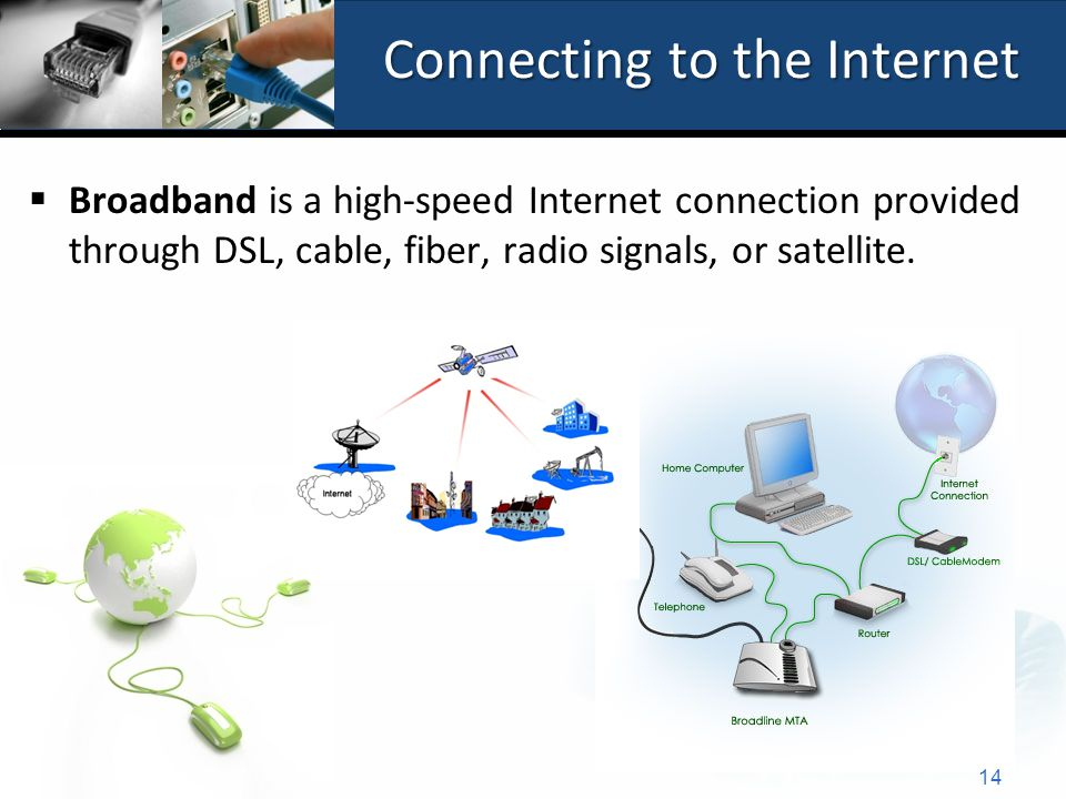 Connecting to the Internet  Broadband is a high-speed Internet connection provided through DSL, cable, fiber, radio signals, or satellite.