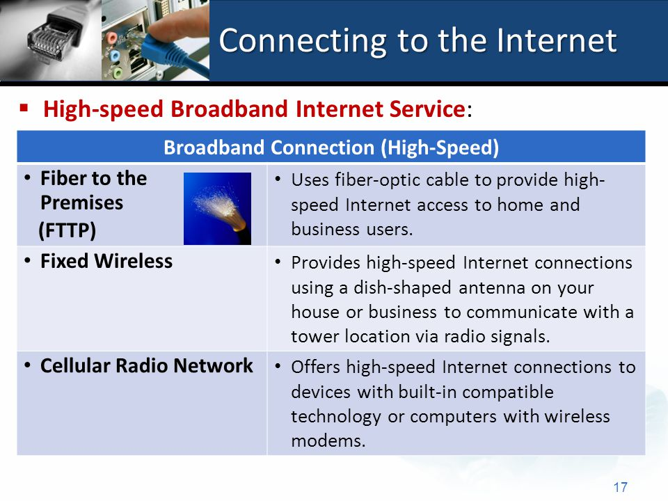 Connecting to the Internet 17 Broadband Connection (High-Speed) Fiber to the Premises (FTTP) Uses fiber-optic cable to provide high- speed Internet access to home and business users.