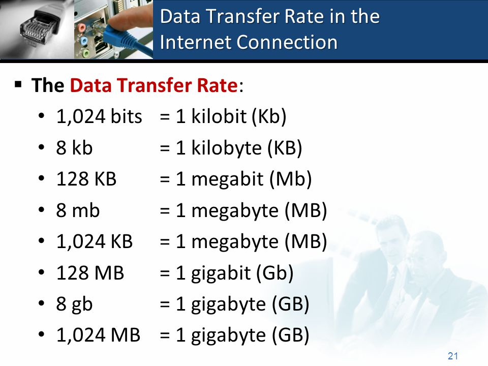 Data Transfer Rate in the Internet Connection 21  The Data Transfer Rate: 1,024 bits = 1 kilobit (Kb) 8 kb = 1 kilobyte (KB) 128 KB = 1 megabit (Mb) 8 mb = 1 megabyte (MB) 1,024 KB = 1 megabyte (MB) 128 MB = 1 gigabit (Gb) 8 gb = 1 gigabyte (GB) 1,024 MB = 1 gigabyte (GB)