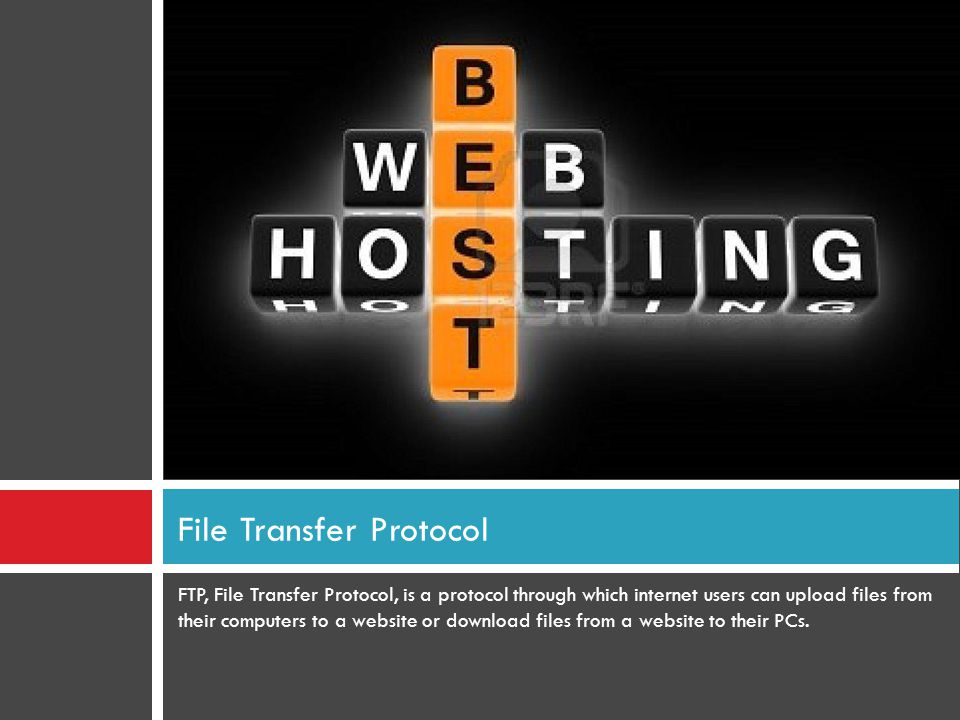 FTP, File Transfer Protocol, is a protocol through which internet users can upload files from their computers to a website or download files from a website to their PCs.