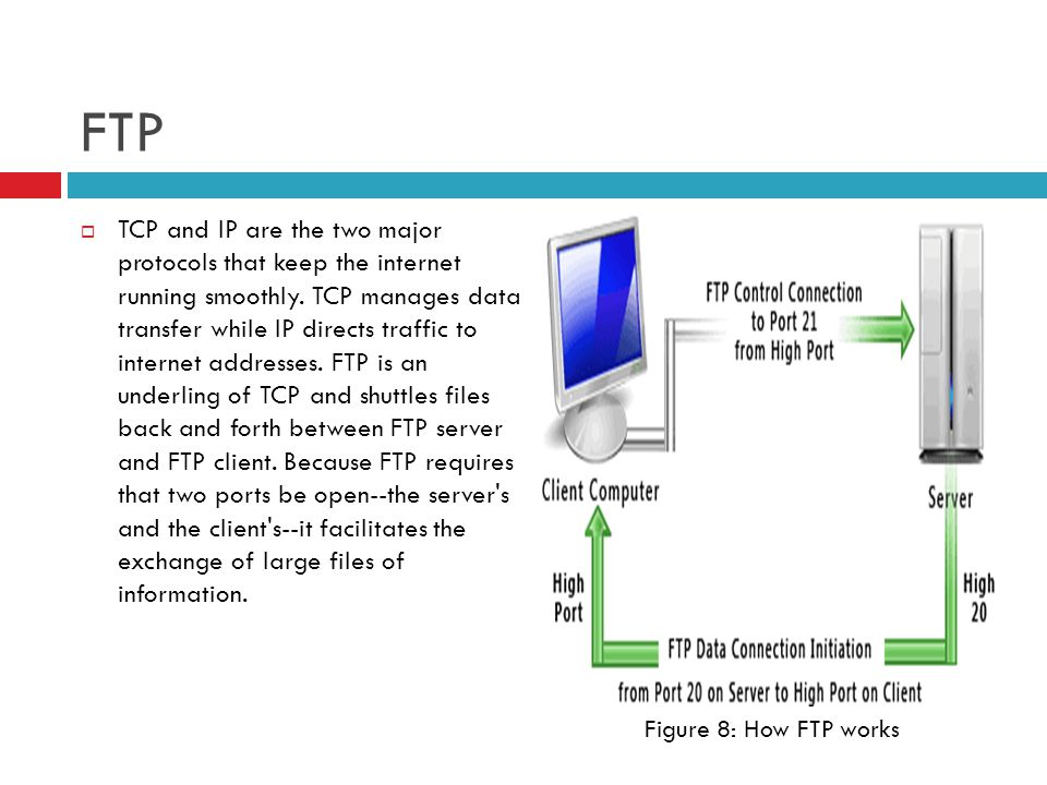 FTP  TCP and IP are the two major protocols that keep the internet running smoothly.