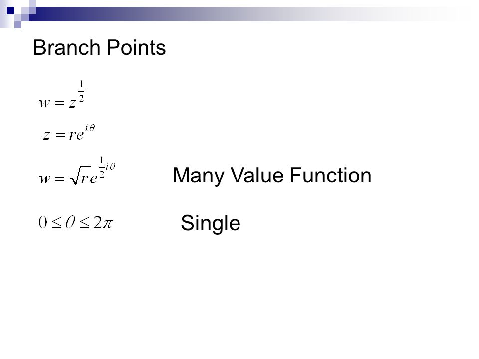 Branch Points Many Value Function Single