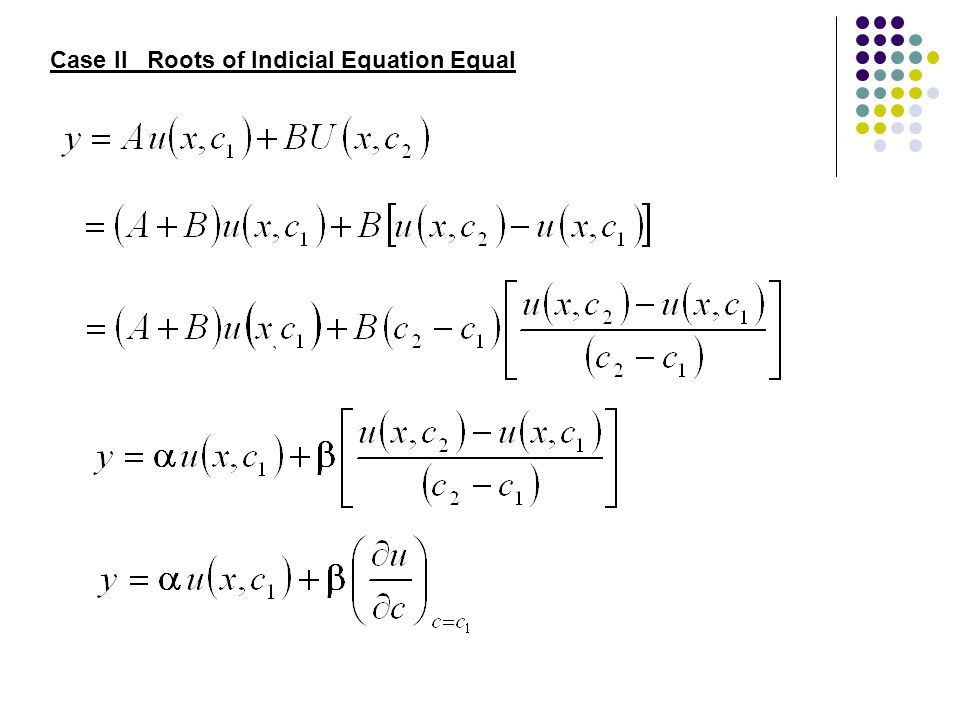 Case II Roots of Indicial Equation Equal