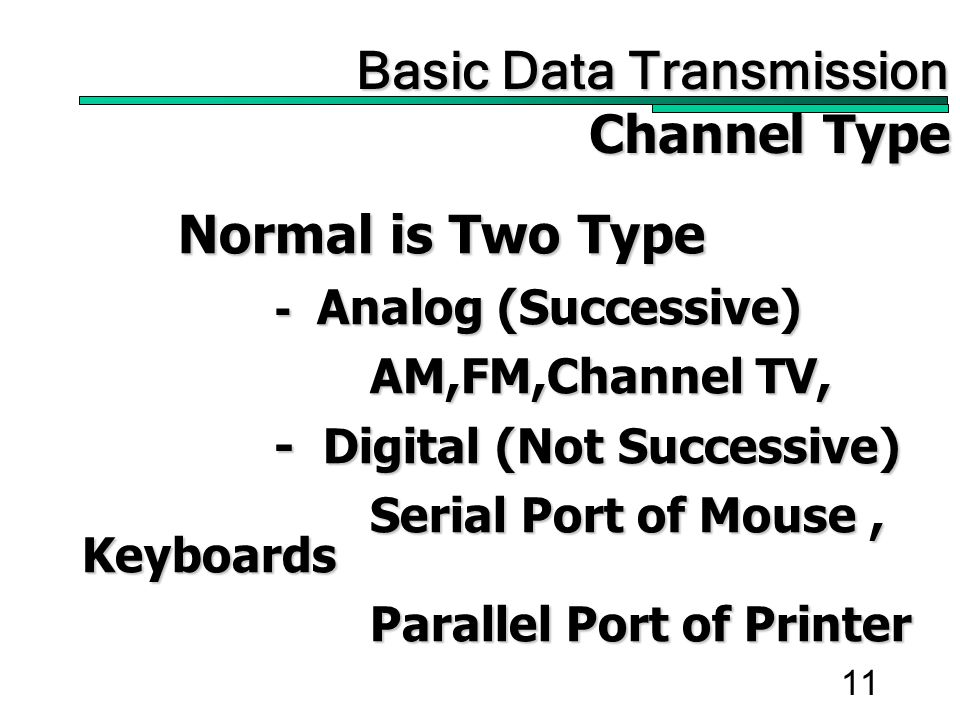 11 Normal is Two Type - Analog (Successive) AM,FM,Channel TV, - Digital (Not Successive) Serial Port of Mouse, Keyboards Parallel Port of Printer Basic Data Transmission Basic Data Transmission Channel Type
