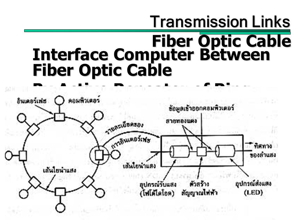 32 Transmission Links Transmission Links Fiber Optic Cable Interface Computer Between Fiber Optic Cable By Active Repeater of Ring