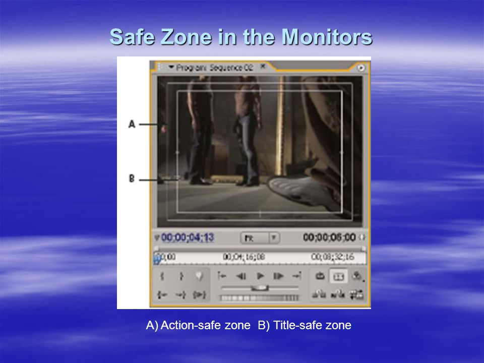 Safe Zone in the Monitors A) Action-safe zone B) Title-safe zone
