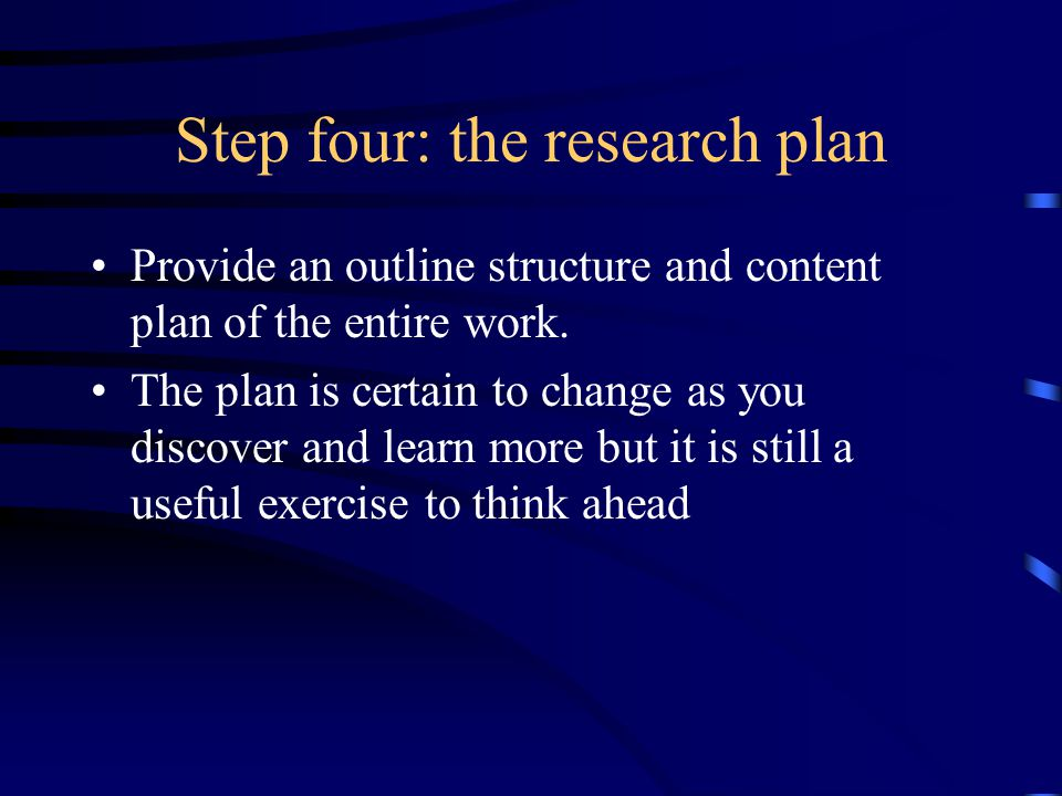Step four: the research plan Provide an outline structure and content plan of the entire work.