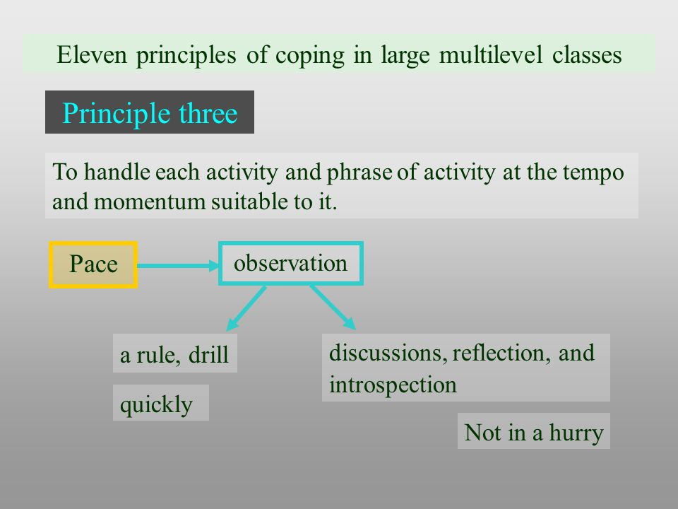 Eleven principles of coping in large multilevel classes Principle three Pace To handle each activity and phrase of activity at the tempo and momentum suitable to it.