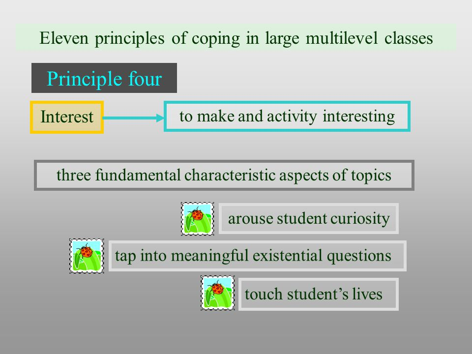 Eleven principles of coping in large multilevel classes Principle four Interest three fundamental characteristic aspects of topics to make and activity interesting arouse student curiosity tap into meaningful existential questions touch student's lives