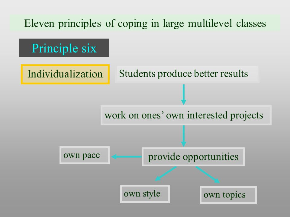 Eleven principles of coping in large multilevel classes Principle six Individualization Students produce better results work on ones' own interested projects own pace own style provide opportunities own topics