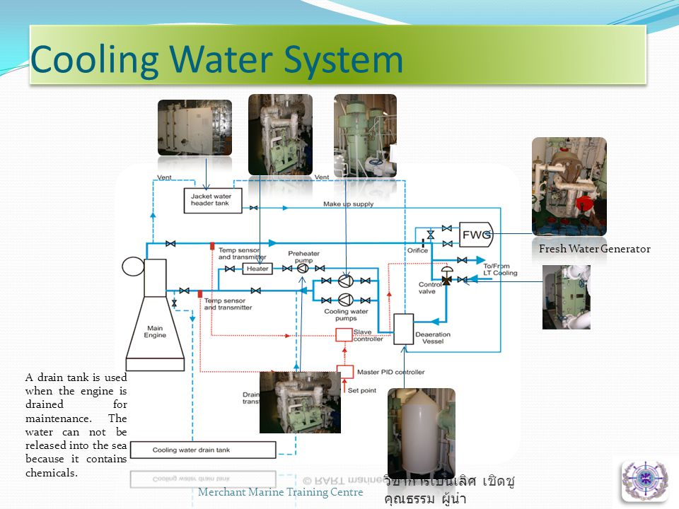 Cooling Water System Merchant Marine Training Centre6 วิชาการเป็นเลิศ เชิดชู คุณธรรม ผู้นำ Fresh Water Generator A drain tank is used when the engine is drained for maintenance.