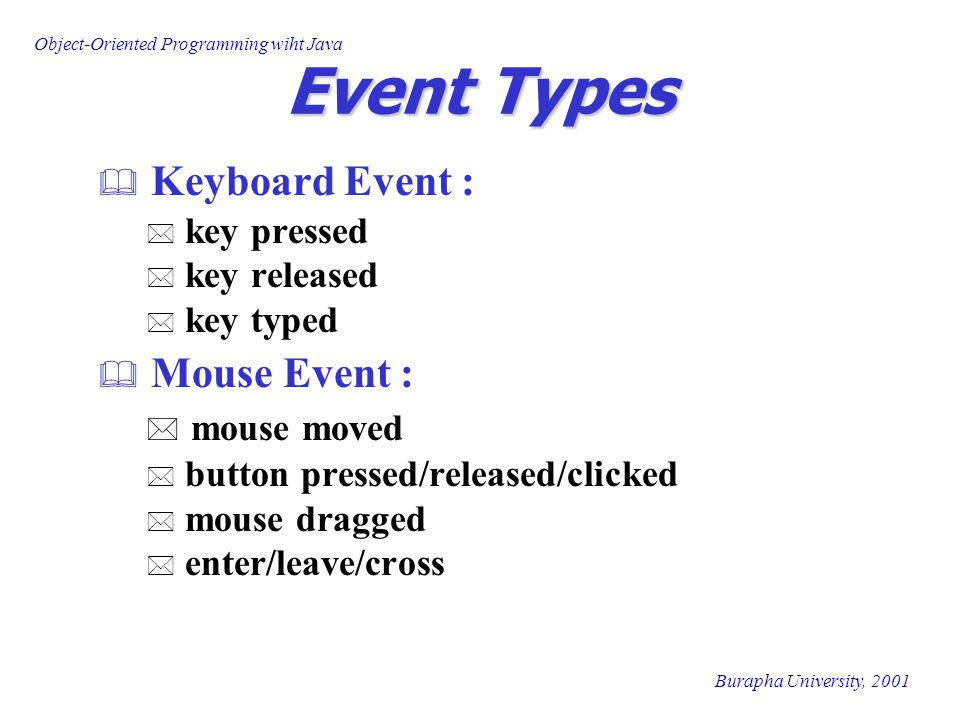 Object-Oriented Programming wiht Java Burapha University, 2001 Event Types  Keyboard Event : * key pressed * key released * key typed  Mouse Event : * mouse moved * button pressed/released/clicked * mouse dragged * enter/leave/cross