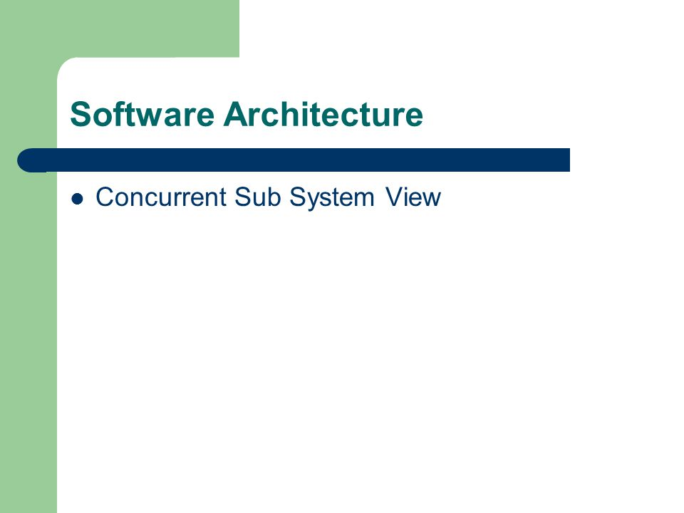 Software Architecture Concurrent Sub System View