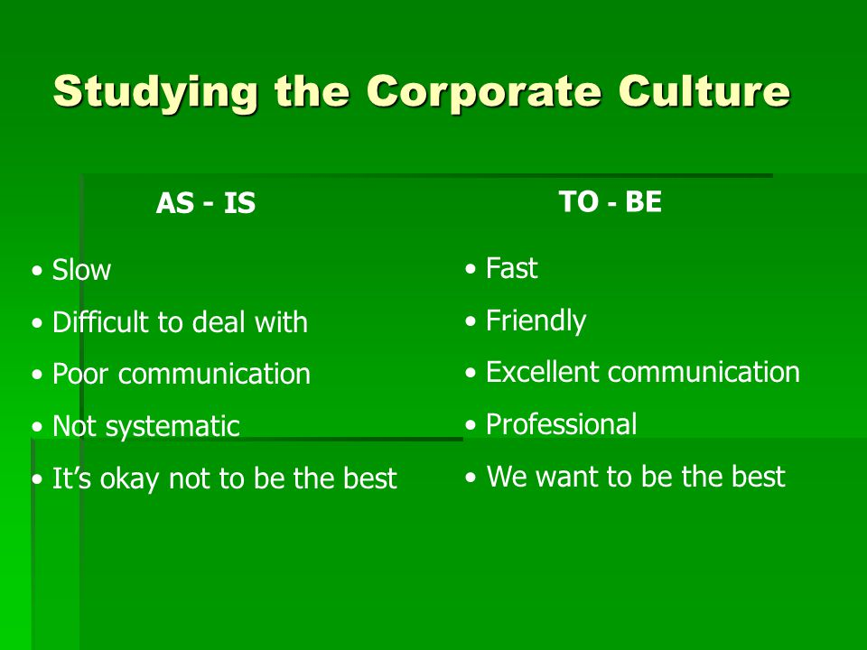 AS - IS Slow Difficult to deal with Poor communication Not systematic It's okay not to be the best Studying the Corporate Culture Fast Friendly Excellent communication Professional We want to be the best TO - BE