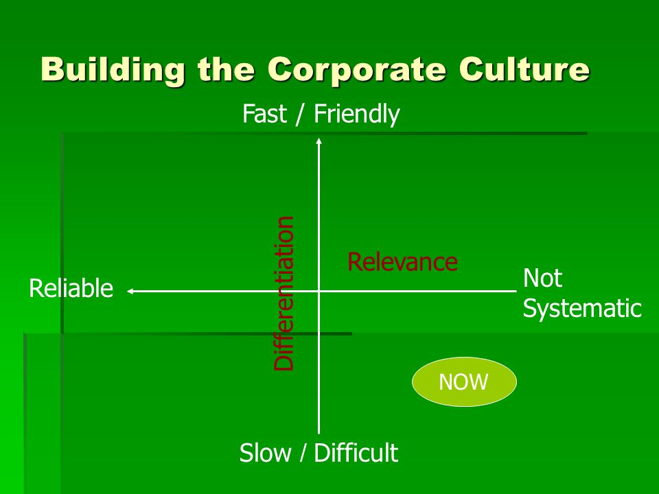 Slow / Difficult Fast / Friendly Not Systematic Reliable Relevance Differentiation NOW Building the Corporate Culture