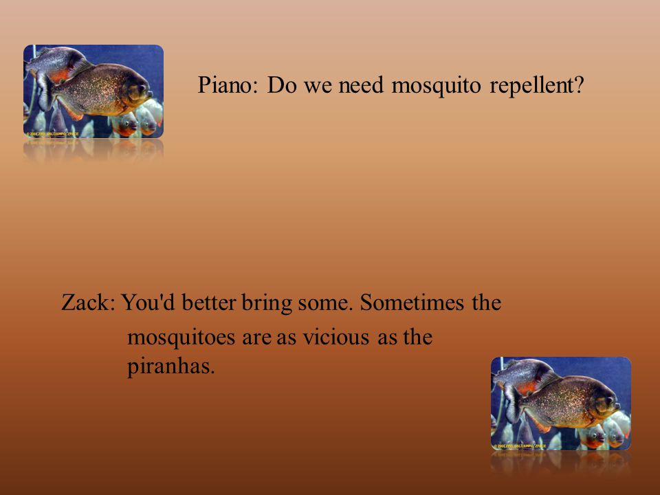 Piano: Do we need mosquito repellent. Zack: You d better bring some.